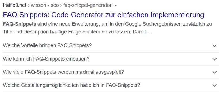 FAQ Snippets Screenshot 1